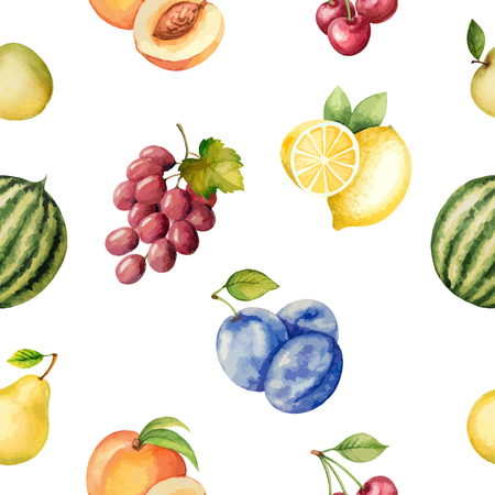 lemon fruit: Seamless pattern with watercolor fruit on white background. Hand drawn food texture with watermelon, ?pple, plum, lemon, cherry, peach, pear.Vector illustration. Illustration
