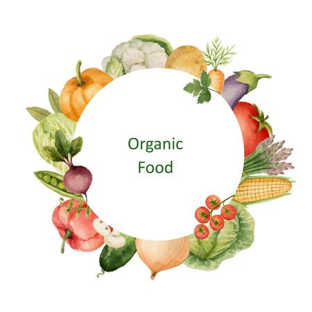 水彩には、有機野菜が描かれています。ダイエット メニューとエコ食品、健康的なライフ スタイルの要素をデザインします。あなたのテキストのた