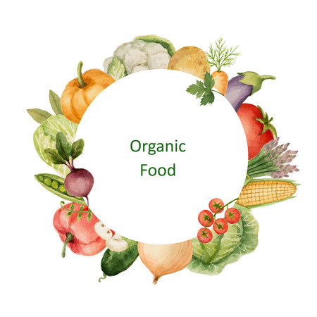 Watercolor painted organic vegetables. Design element for a healthy lifestyle, diet menu and eco food. Place for your text.Vector illustration.
