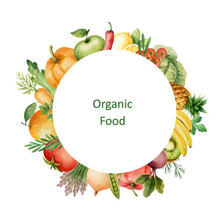 Watercolor painted organic fruits and vegetables. Design element for a healthy lifestyle, diet menu and eco food. Place for your text.Vector illustration.
