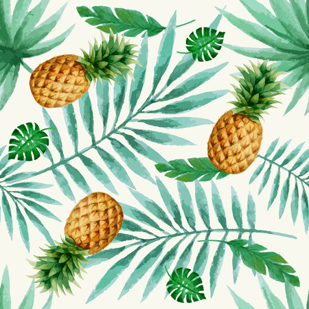 Exotic fruits seamless pattern, watercolor, vector illustration. Green tropical leaves and fresh pineapple.