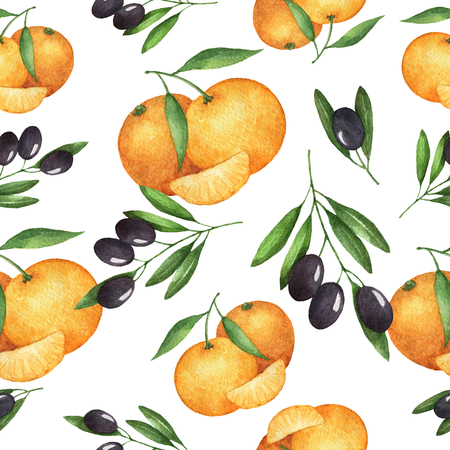 mediterranean diet: Watercolor seamless pattern, olive and mandarin. Painted illustration on a white background. Texture for a healthy diet. Mediterranean food. Stock Photo