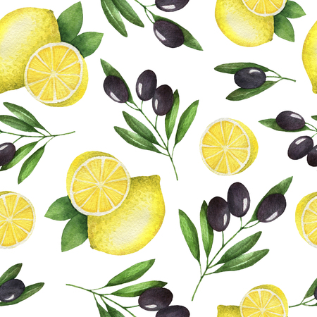 mediterranean diet: Watercolor seamless pattern of olives and lemon. Painted illustration on a white background. Texture for a healthy diet. Mediterranean food.