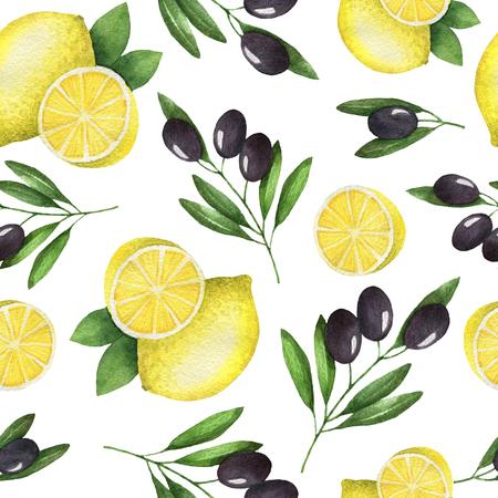 Waterverf het naadloze patroon van de olijven en citroen. Geschilderde afbeelding op een witte achtergrond. Textuur voor een gezond dieet. Mediterrane gerechten.