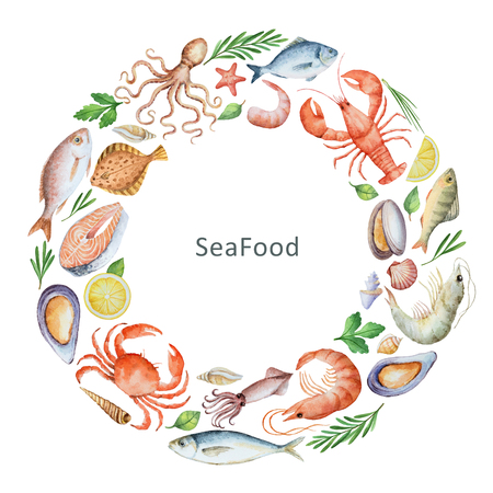 spice: Watercolor conceptual illustration of seafood and spices. The perfect design for packaging, kitchen decor, natural and organic products. Round frame with space for text.