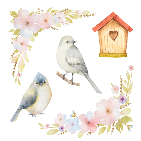 Watercolor set of birds, flowers and birdhouses. Hand painted illustration on white background. Elements for design of congratulatory cards, invitations, business cards and more.