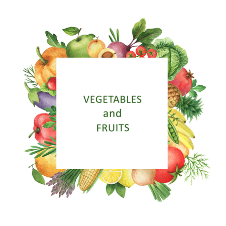 Watercolor square frame of vegetables and fruits. Design element for a healthy lifestyle, diet menu and eco food. Place for your text.