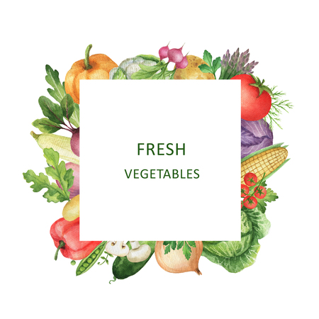 Watercolor square frame with fresh vegetables. Design element for a healthy lifestyle, diet menu and eco food. Place for your text.