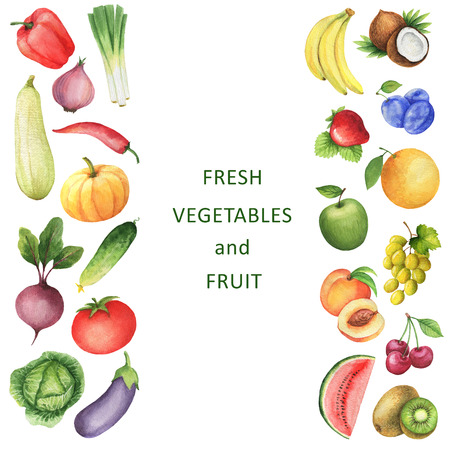 Watercolor collection of vegetables and fruits. Template for cooking sites, magazines and a healthy diet menu.