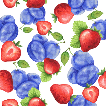 Watercolor seamless pattern with fresh strawberry and plum. Hand drawn food texture with fruits on white background.