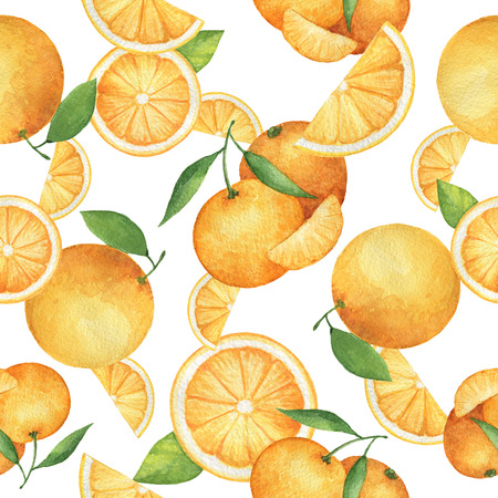 Watercolor seamless pattern with fresh oranges and tangerines. Hand drawn food texture with fruits on white background.