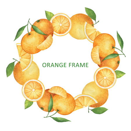 Watercolor round frame from oranges and tangerines. Design element for a healthy lifestyle, diet menu and eco food. Place for your text.