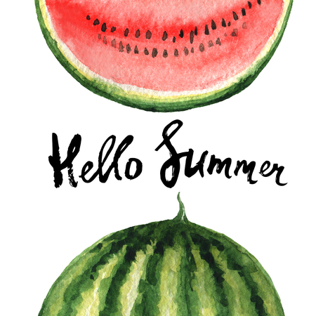 Watercolor poster fruit with watermelon and hand lettering hello summer. Background for menu, fashion design, tourism and beach holidays.