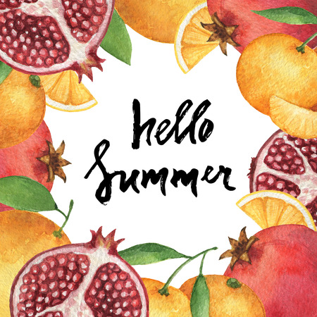 Watercolor square frame of fresh oranges and pomegranates. Fruit design element for a healthy lifestyle, diet menu and eco food. Hand painted lettering Hello summer.