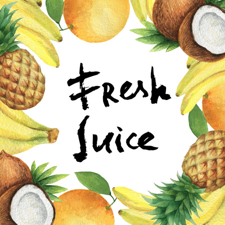 Watercolor square frame of fresh pineapples, bananas, oranges and coconut. Fruit design element for a healthy lifestyle, diet menu and eco food. Hand painted lettering fresh juice.