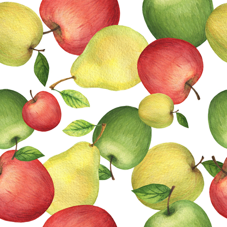 Watercolor seamless pattern with fresh apples and pears. Hand drawn food texture with fruits on white background.