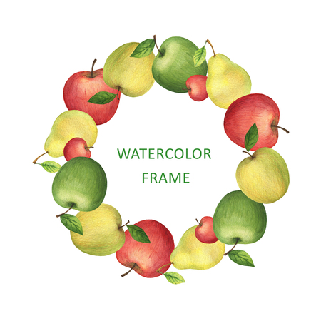Watercolor round frame from fresh apples and pears. Design element for a healthy lifestyle, diet menu and eco food. Place for your text.