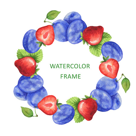 Watercolor round frame from fresh strawberry and plum. Design element for a healthy lifestyle, diet menu and eco food. Place for your text. Stock fotó