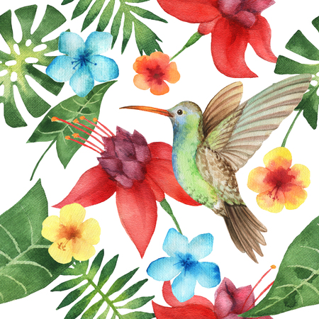 Watercolor seamless pattern with exotic flower, palm leaves and hummingbird on white background. Hand painted tropical texture.