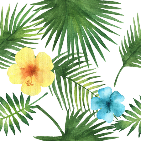 Watercolor seamless pattern with exotic flower hibiscus and palm leaves on white background. Hand painted tropical texture.