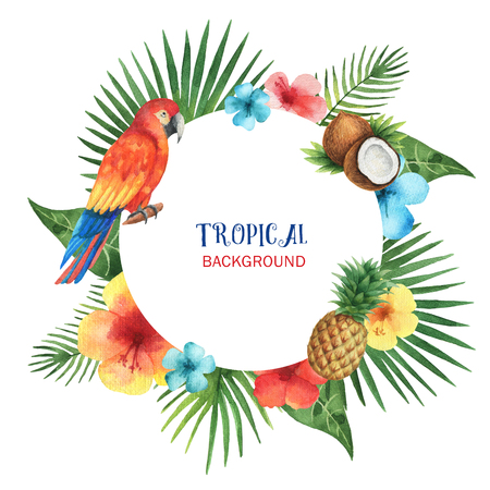 Watercolor round frame from exotic leaves, parrots, hibiscus flowers, coconut and pineapple. Colorful tropical plants on a white background with place for text.