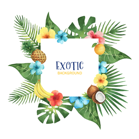 Watercolor square frame from exotic leaves, hibiscus flowers, coconut, banana, orange and pineapple. Colorful tropical plants and fruits on a white background with place for text. Stockfoto