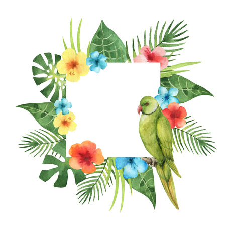 Watercolor square frame from exotic leaves, parrot and hibiscus flowers. Colorful tropical plants and bird on a white background with place for text. Stockfoto