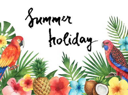 Watercolor illustration of the tropical leaves of palm trees, hibiscus flowers, parrots, coconut and pineapple. Template with green plants, fruits and birds with place for text. Letter ink summer holidays. 写真素材 - 130047465