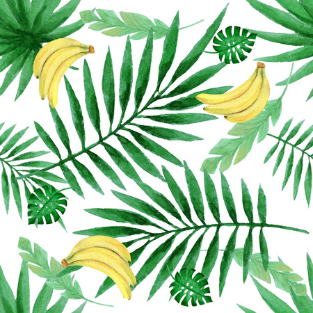 Watercolor seamless pattern with fresh bananas and tropical leaves. Hand painted floral texture on a white background. Stock fotó