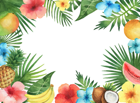 Watercolor illustration of the tropical leaves of palm trees, hibiscus flowers, watermelon, banana, coconut and pineapple. Rectangular frame with green plants and fruits with place for text.