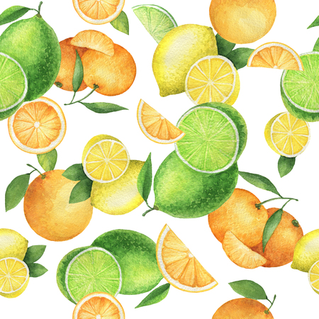 Watercolor seamless pattern with juicy oranges, mandarins, lemons and lime. Hand painted citrus texture on a white background.
