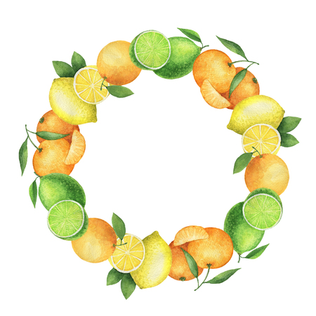 Round watercolor wreath with juicy oranges, mandarins, lemons and lime. Hand painted citrus illustration on a white background. 스톡 콘텐츠