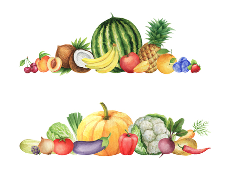 Watercolor set of ripe vegetables and fruits. Background for a healthy lifestyle, diet menu and eco food. Imagens - 130047470
