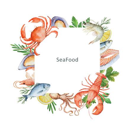 Aquarellillustration von Meeresfrüchten und Gewürzen. Das perfekte Design für Verpackungen, Küchendekorationen, Natur- und Bioprodukte. Quadratischer Rahmen mit Platz für Text.