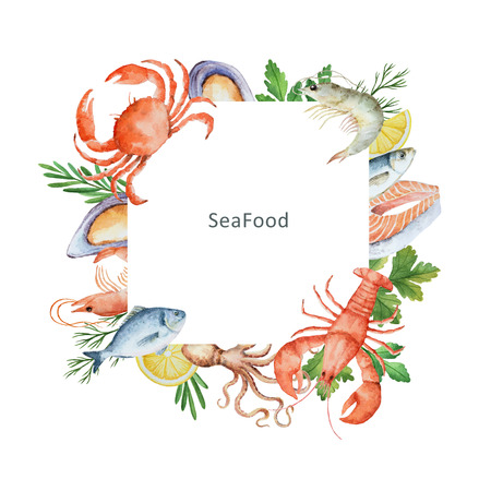 Watercolor illustration of seafood and spices. The perfect design for packaging, kitchen decor, natural and organic products. Square frame with space for text.