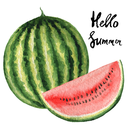 fashion design: Watercolor poster fruit with watermelon and hand lettering hello summer. Background for menu, fashion design, tourism and beach holidays.