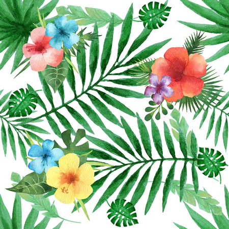 monstera leaf: Watercolor seamless pattern with exotic flower hibiscus and palm leaves on white background. Hand painted tropical texture.