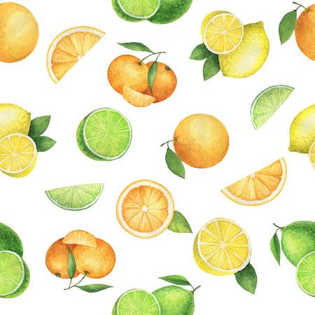 Watercolor naadloze patroon met sappige sinaasappelen, mandarijnen, citroenen en kalk. Hand geschilderde citrus textuur op een witte achtergrond. Stockfoto