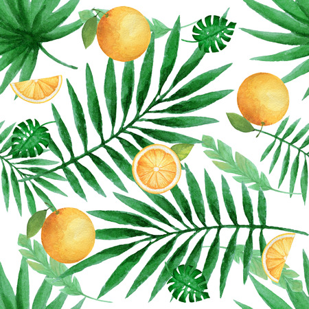 Watercolor seamless pattern with juicy oranges and tropical leaves. Hand painted citrus texture on a white background. Stock Photo