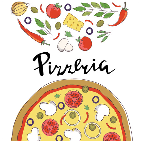 Vector sketch illustration of pizza and hand lettering isolated on a white background. Template for restaurants menu, pizzeria, food sites and cooking magazines. Illustration