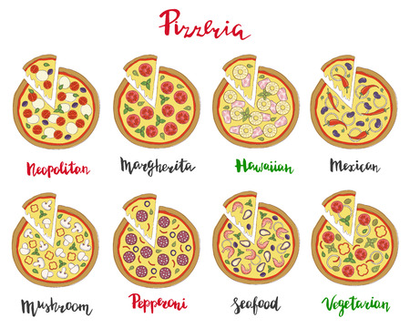 neapolitan: Vector set of hand drawn pizza popular varieties, Margarita, Neapolitan, Pepperoni, Mexican, Hawaiian, Seafood, Vegetarian and hand lettering isolated on a white background.