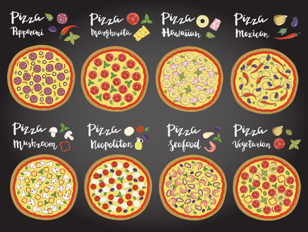hand set: Vector set of hand drawn pizza popular varieties, Margarita, Neapolitan, Pepperoni, Mexican, Hawaiian, Seafood, Vegetarian and hand lettering isolated on a on the chalk board.