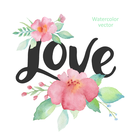 tshirt designs: Watercolor flowers and hand lettering love. Vector Illustration for valentines day, posters, save the date, wedding, posters, t-shirt designs and bags.