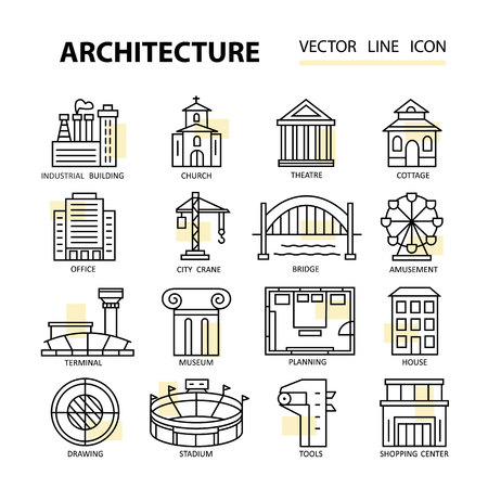 architectural elements: Set of modern linear icons with architecture elements. Vector illustration for design.