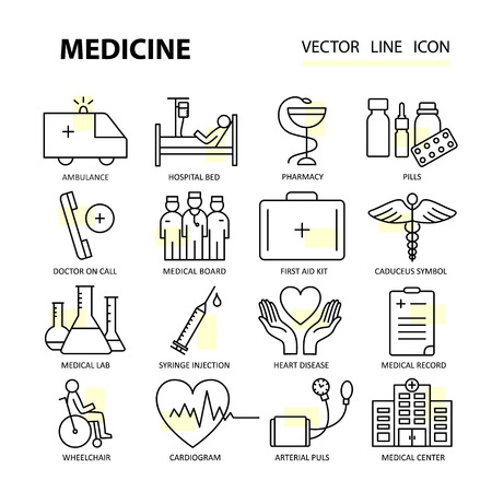 chemotherapy: Set modern thin line web icons on medicine and health symbols. Premium quality vector logos. Illustration