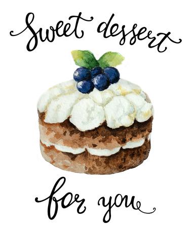 felicitaciones cumpleaÑos: pastel de la acuarela con las letras de postre dulce para usted. Ilustración para tarjetas postales, felicitaciones, invitaciones y cumpleaños.
