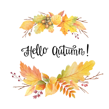 Hello autumn watercolor wreath with colored leaves and lettering on a white background. Illustration for design  leaflets, posters, cards with space for your text. 스톡 콘텐츠
