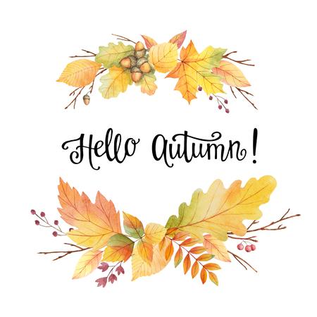 Hallo herfst aquarel krans met gekleurde bladeren en letters op een witte achtergrond. Illustratie voor het ontwerp folders, posters, kaarten met ruimte voor uw tekst. Stockfoto