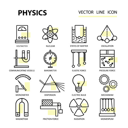 momentum: Modern thin linear icons of physics and laboratory experiments. for schools, universities, colleges, research and education. Illustration