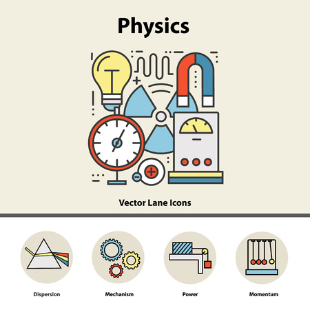 Modern color concept of physics for school, university and training. line icons for trendy designs. Illustration